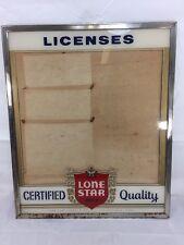 Vintage Lone Star Beer Licenses Glass Chrome Frame Sign