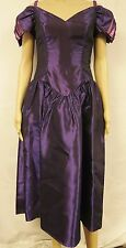Vintage 80s Dress Drop Waist Purple Pleated Off Shoulder Formal Retro Prom