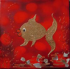 "Acrylbild Acrylmalerei Kinderzimmerdeko  Taufgeschenk ""Herr Goldfisch"""