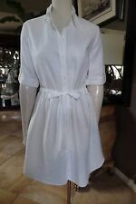 Lafayette 148 White 100% Linen Button Front Tie Waist Shirt Dress 6