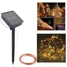 10M 100LED Warm White Waterproof Solar Power Fairy String Lights Garden Party