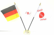 Germany & Tokyo Japan Olympics 2020 Desk Flags & 59mm BadgeSet