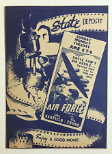 State Deposit Theatre Movie Program / Ad Flyer, Air Force, Dixie Dugan Etc 1940s