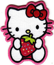 """HELLO KITTY"" w/STRAWBERRY- Cartoon Character/Iron On Embroidered Applique Patch"