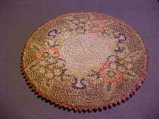 """Antique Victorian Dollhouse Miniature  Hand Made Silk Embroidery Rug  6"""" Round"""