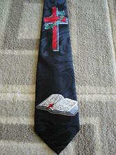 NEW CHRISTIAN BIBLE AND CROSS JESUS RELIGIOUS NECK TIE