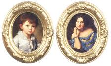 2 ovale or encadrée portrait photos, maison de poupées miniature, échelle 1,12,
