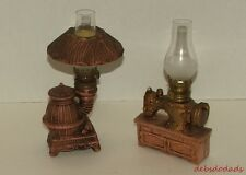 Two Vintage Collectible Miniature Ceramic Kerosene Lamps Stove / Sewing Machine