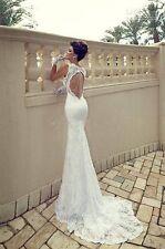 Rückenfrei Weiß Spitze Hochzeitskleid Abendkleid formales Kleid Prom Brautkleid