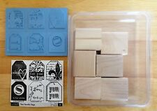 2006 NEW Stampin Up TOO TERRIFIC TAGS 6pc RUBBER INK STAMP SET Fleur De Lis Yum