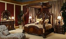 Michael Amini Victoria Palace 5 pc Bedroom Set Luxurious Large Canopy Bed AICO