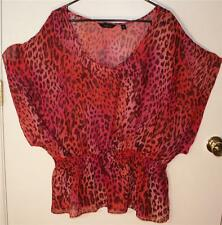 INVESTMENTS II WOMEN'S PLUS SIZE 2X MULTI-COLOR LEOPARD PRINT SHEER TOP - PRETTY