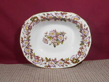 Adderley Fine China Briar Rose Purple Pattern Oval Vegetable Bowl 10""