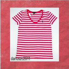 Polo Ralph Lauren Women's Size L  PONY LOGO V-Neck Pink/White Striped T-Shirt