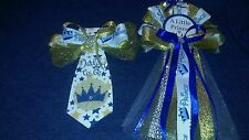 Baby shower Boy Prince Corsage and Tie   Blue and gold