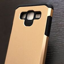 For Samsung Galaxy On5 G550 -HARD TPU RUBBER HYBRID ARMOR CASE COVER GOLD BLACK