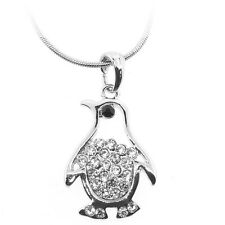 """Silver Color Penguin Shape Charm Pendant with White Crystals and 16"""" Chain"""