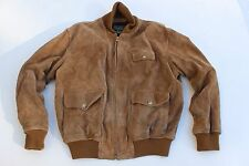 Vintage Polo Country Ralph Lauren Brown Suede Leather Jacket Mens Large L Bomber