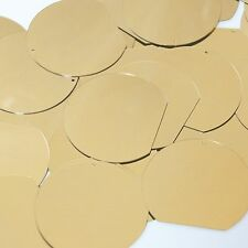 """Sequin Three Quarter Round 1.5"""" Gold Metallic Couture Paillettes. Made in USA."""
