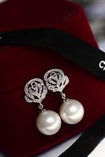 Boucles d`Oreilles Clous Argenté Cristal Fleur Rose Perle Fin Retro Filigrane C2