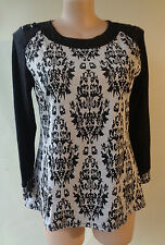 EVERSUN New Black white knit stretch top size 16 NWT long sleeves