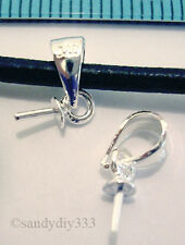 10x STERLING SILVER PENDANT CLASP PEARL CAP 3mm BAIL PIN N067
