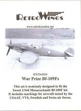 RetroKits Models Decals 1/144 WAR PRIZE MESSSERCHMITT Bf-109F Fighters