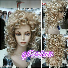 New Ladies wig long blonde mix Curly wavy Natural Hair wigs+wig cap