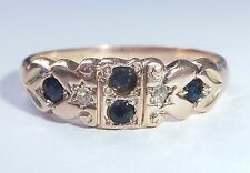 Antique Victorian 9ct Rose Gold Sapphire & Diamond Ring, Size P