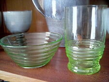Green Glass Set of Dish Bowl & Cup Goblet Collection Welcome Craft