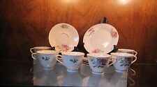 5 Cup Saucer & Plate Sets TANG SHAN Bone China Coffee/Tea Dessert Floral Motif