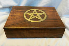 Hand Carved Wooden Tarot Card Storage Box - Brass Pentagram Inlay to Lid - BNIB