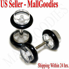 2061 Clear Fake Cheater Illusion Faux Ear Plugs 16G Bar 4G = 5mm 2pcs Retainers