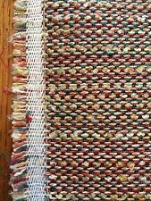 Upholstery Fabric Polyester Tweed Burlap Orange Red Multi Stripe Heavy 4.5 Yds