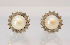 14k Solid Yellow Gold 7mm Pearl and Diamond Halo Pierced Earrings ~ 5.8 Grams