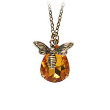 Charm Jewelry Chain Crystal Bee and Honey Necklace Golden Rhinestone EFUS