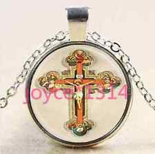 Vintage Jesus cross Cabochon Tibetan silver Glass Chain Pendant Necklace #1447