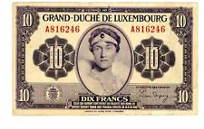 "Luxembourg ... P-44 ... 10 Francs ... ND(1944) ... *F-VF* ... Prefix Letter ""A"""