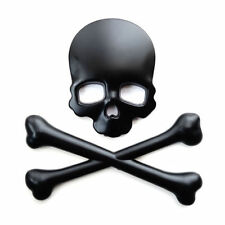 SKULL CROSSBONES 3D EMBLEM BADGE SELL-ADHESIVE 3M CAR BIKE BLACK MATT REAR FRONT