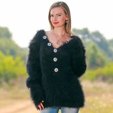 SUPERTANYA BLACK V neck Hand Knitted Mohair Sweater Fuzzy Jersey Slouchy Blouse