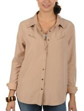 BILLABONG MORENA SUEDE FEEL SHIRT BLOUSE SAND TAN LARGE BNWT RRP £50.00