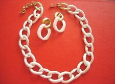 VINTAGE MONET White Enamel Larger Link Necklace & Clip Earrings Hint of Gold