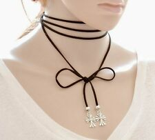 Punk Gothic Black Velvet PU Leather Cross Chain Necklace Stretch Choker Gift AD