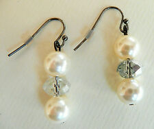 ACCESSORIZE DANGLY EARRINGS_CREAMY PEARL AND SPARKLY MIRROR FINISH BEAD DROP_NEW