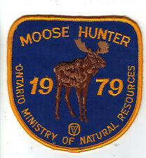 1979 ONTARIO MNR MOOSE HUNTER PATCH-MICHIGAN DNR DEER-BEAR-CREST-BADGE-ELK-FISH