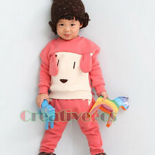 Fashion Korean Kids Toddlers Boys Dog Stitching Cotton Tops T-Shirt Pants Sets