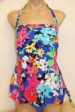 NWT Swim Solutions Swimsuit 1 one piece Strap Size 18W  Multi Blue