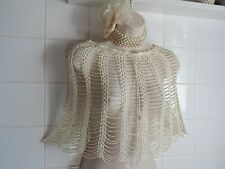 Vintage 1920s Cream Gold Bead CAPE Flapper Gatsby Charleston Bolero Poncho Shrug