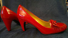 "Patent Red Leather 3"" Heel Court Shoe with Bow by Naturalizer SMALL 6 or 5"