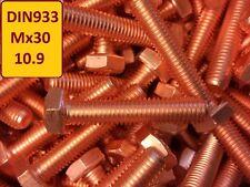 10 Stück Kupferschraube DIN 933 M6x30 10.9 hochfest stark verkupfert